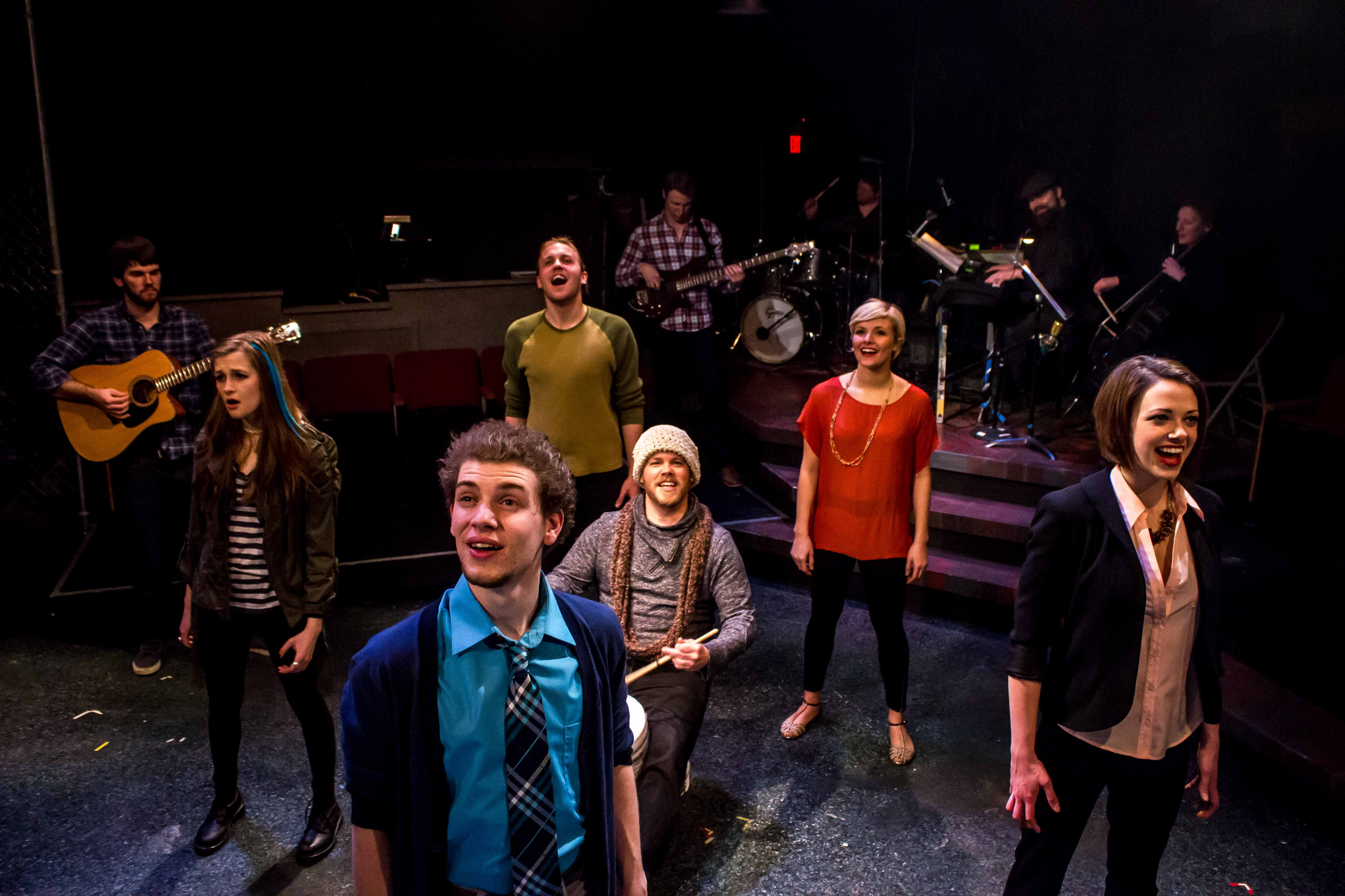 Nat Zegree, Emily Schultheis, Mia Fitzgibbon, etc. in the musical Island Song at the Bloomington Playwrights Project