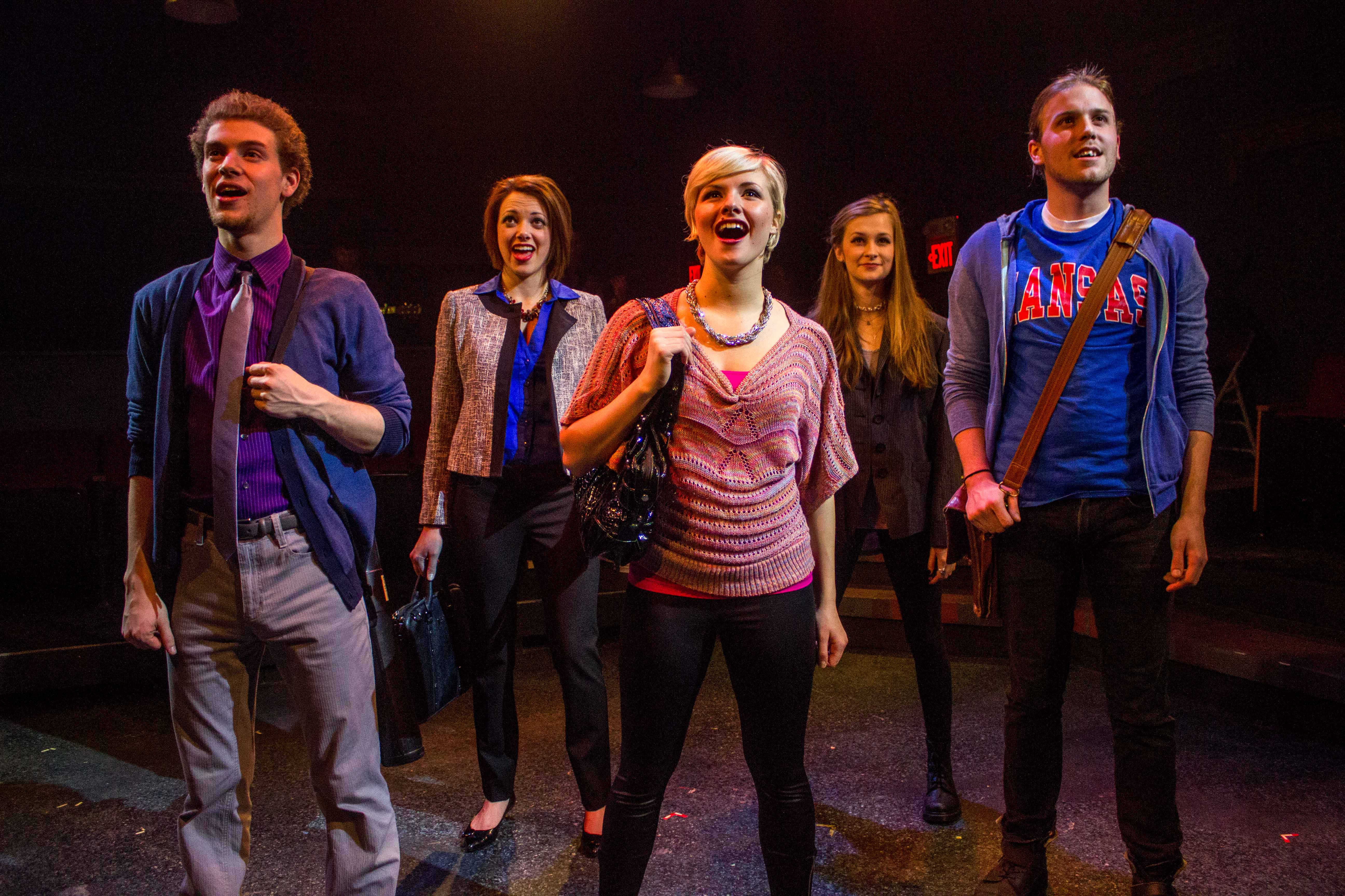 Nat Zegree, Kayla Eilers, Zachary Stewart, etc. in the musical Island Song at the Bloomington Playwrights Project