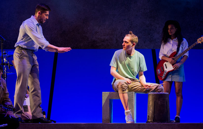 James Killeen and Jack Blakey in the Rose Bruford College actor-musician production of the musical Island Song, Stratford Circus, London