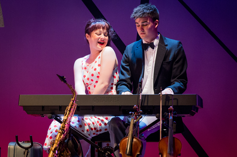 Ellie-Jane Goddard and Brandon Plummer in the Rose Bruford College actor-musician production of the musical Island Song, Stratford Circus, London